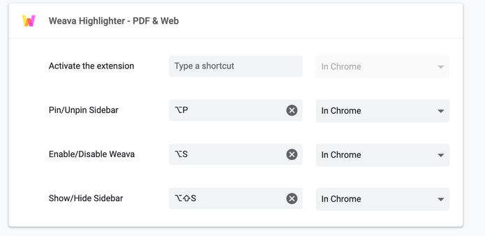 Chrome setting set keyboard shortcut