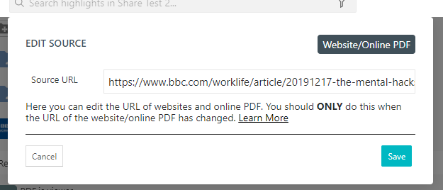 Online source example