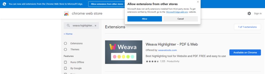 Weava with Microsoft Edge